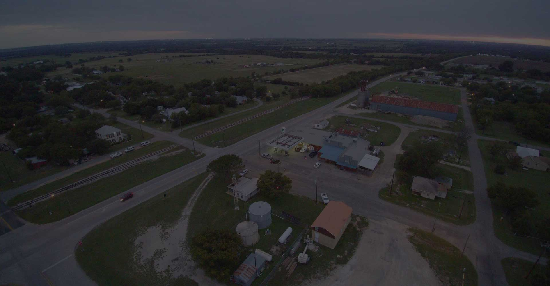 overhead view of the town of Weir, TX