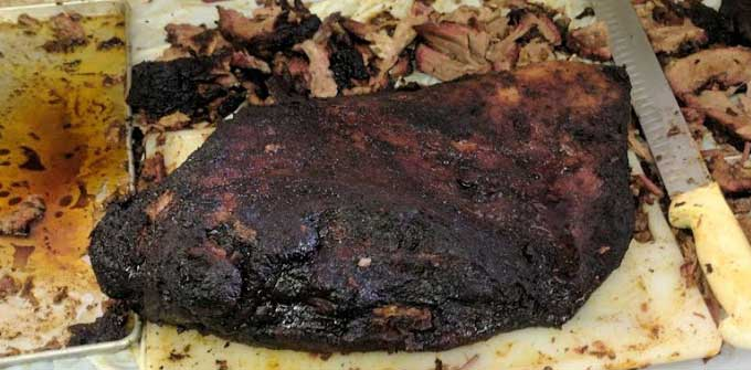 Closeup of a brisket